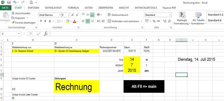 Excel Rechnungsverwaltung Erstellen Und Verwalten Von Rechnungen