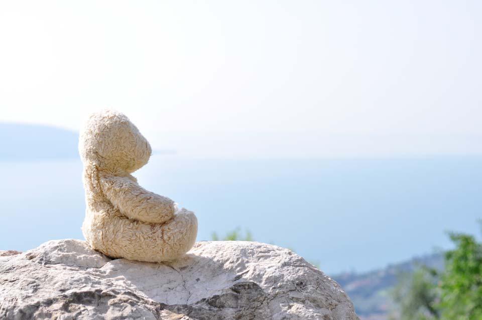 Foster meditiert. Hoch über dem Gardasee